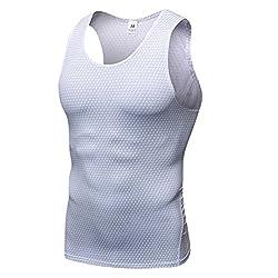 YiiJee Sports T-Shirt Herren Kompressionsshirt Base Layer Ärmellos Schnelltrocknend Tank Top Weiß M