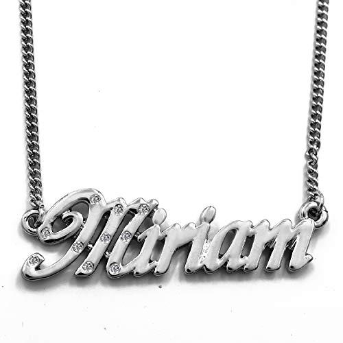 KL Miriam - Collana placcata in Oro Bianco 18 carati, con Nome Personalizzato, Catena Regolabile da 16'- 19', in Confezione Regalo