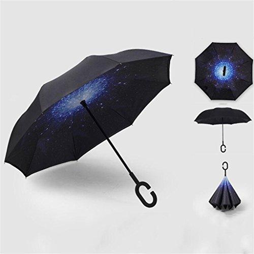 Black Fashion Pattern Double Layer Sun Protection Windproof Reverse Umbrella Waterproof C-Type Hands Free Handle Folding Umbrella Outdoor Best Compact Travel Umbrella (Color : B)