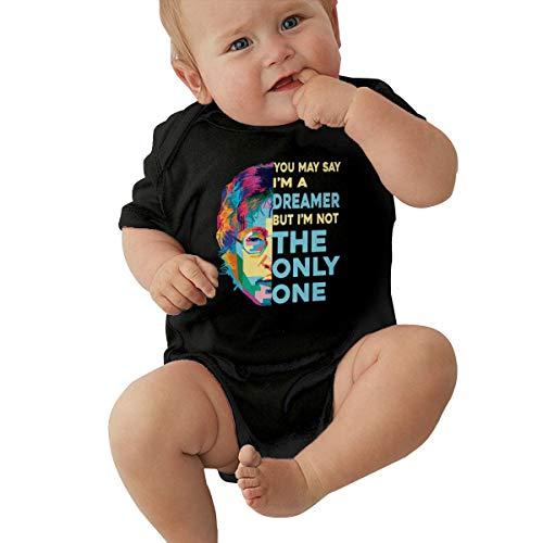 EVEKENNEDY John Lennon Imagine Cute Baby Bodysuit Unisex Boy Girl Short-Sleeve Onesies Bodysuits Black,12M