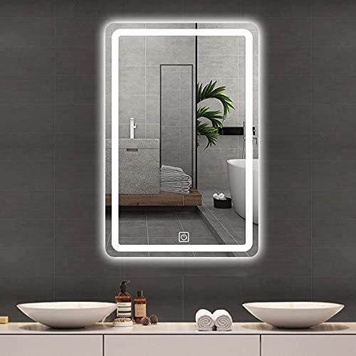 YLDXP Espejo de baño con iluminación LED, Espejo de Maquillaje con antivaho, Rectangular montado en la Pared, con Interruptor táctil y Ajuste de Tiempo, 3 Colores Regulables 3000k-6000k, Clasifica