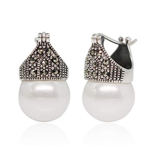 Luna Azure Estilo vintage Plata de ley 925 y concha, pendientes de perlas Marcasita, pendientes de corona, joyería para niñas