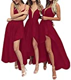 Bridesmaid Dresses Hi-Lo Prom Dress V Neck Evening Formal Gowns Cranberry 2 (Apparel)