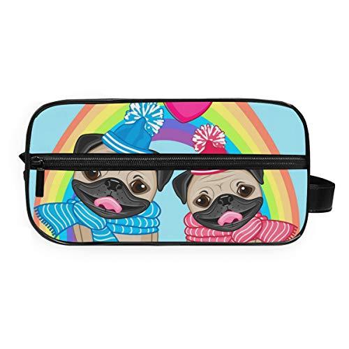 DEZIRO Lovers Knuffel Honden Regenboog Patroon Draagbare Reizen Toilettas Waterdichte Make-up Organizer Cosmetische Bag Pouch Voor Vrouwen Meisje