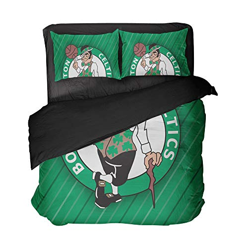 lordream Green Boston Basketball Bed Sheet Set Comfortable Design Sports Bed Sets for Child(Full 3pcs)