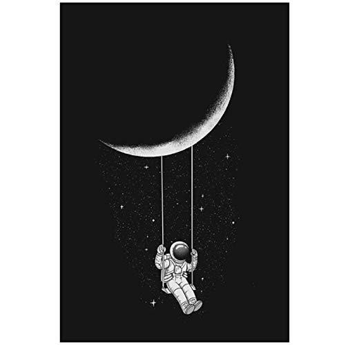 Divertido lienzo de astronauta con estrellas en el espacio de la luna, cuadros de pared, pósteres e impresiones para decoración del hogar