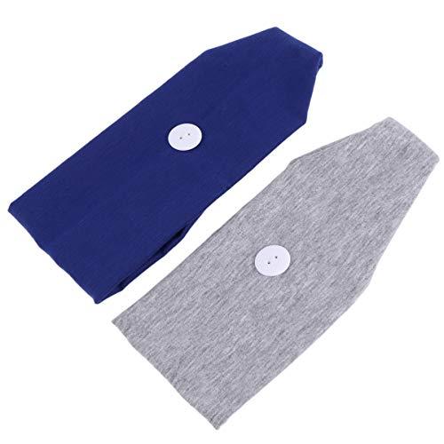PRETYZOOM 2 Pcs Bouton Bandeau Visage Protection Titulaire Headwrap avec Bouton pour Femmes Hommes Toutes Les Personnes pour Protéger Vos Oreilles Bleu Gris