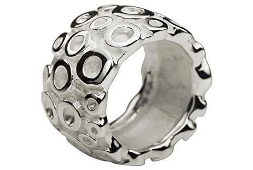 SILBERMOOS Damen Ring Bandring Kreis-Struktur breit matt glänzend massiv 925 Sterling Silber, Größe:52 (16.6)