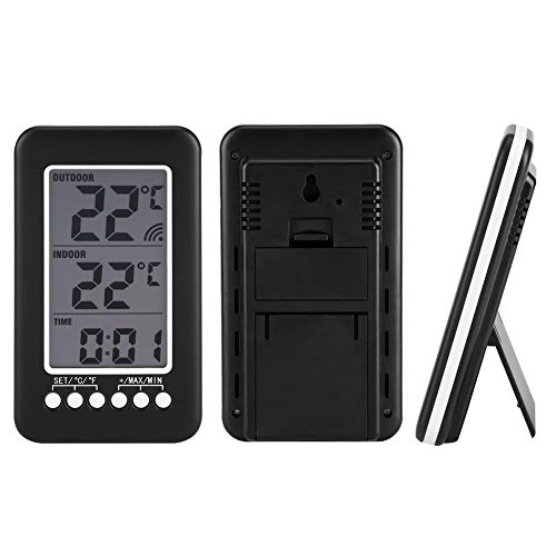 BWLZSP LCD Digitale da Interno Esterno termometro Orologio misuratore di Temperatura trasmettitore Wireless, termometro Wireless misuratore di Temperatura Digitale Orologio termometro Digitale