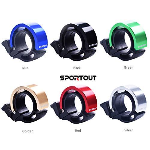 Sportout Aluminiumlegierung Innovative Fahrradklingel Fahrrad Ring mit Lauten Klaren Klaren Kla, für Lenker von 22,2 bis 24,8(Schwarz) - 2