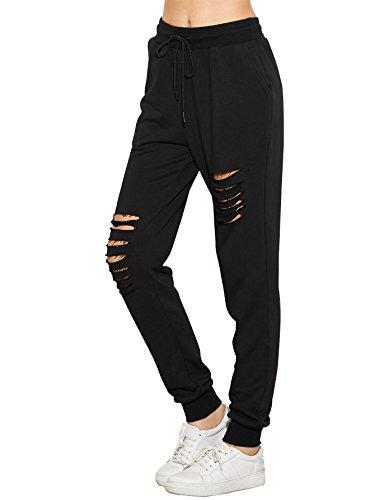 SweatyRocks Women's Ripped Pants Drawstring Yoga Workout Sweatpants Black S