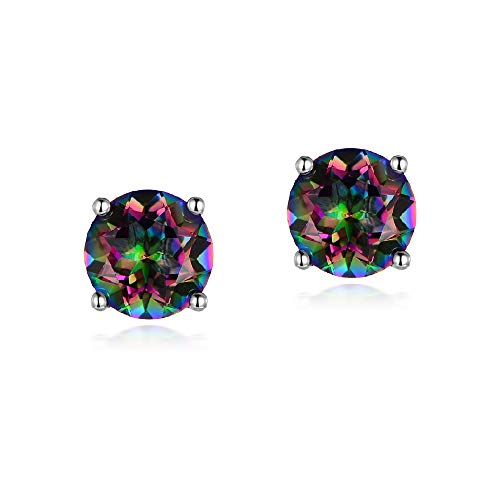 Hypoallergenic Earrings for Girls 4mm Round Rainbow Quartz Small Stud Earring Women Fashion Jewelry Gifts for Her
