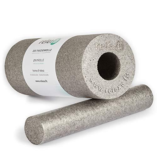 relexa 2in1 Faszienrolle, 2-teiliges Selbstmassagegerät mit herausnehmbarem Kern, mittlere Härte, Ganzkörper Foam Roller, inkl. Faszien-eBook, 35 x 14 cm (L x Ø), in Grau