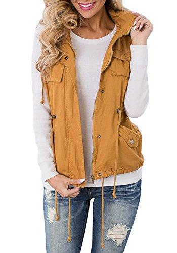 Tutorutor Women's Military Safari Utility Drawstring Lightweight Vest Jacket With Pocket (Medium, Yellow)