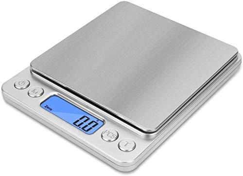 キッチンスケール はかり デジタル jiguoorデジタルスケール クッキングスケール 0.1g単位 3kg 多機能計量器 食品用電子測り 料理 調理 お菓子作り 風袋引き 携帯便利 軽量 超薄型