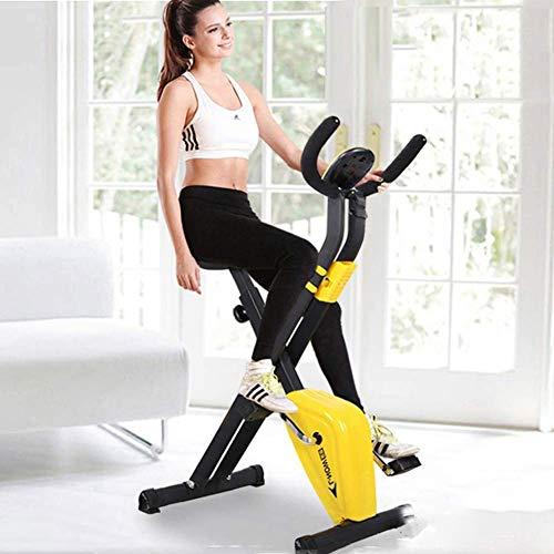 LNDDP Bicicleta de ejercicio plegable para el hogar con pantalla de entrenamiento cardiovascular ajustable manillar altura asiento Fitness Bike ideal para entrenamiento cardiovascular