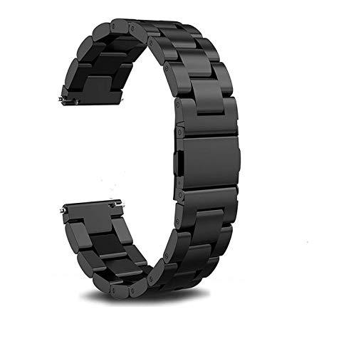 REDCVBN Correa de Reloj 18 mm 20 mm 22 mm Correa de Reloj de Acero Inoxidable para Samsung Gear S2 S3 Pulsera de eslabones de Reloj Inteligente Negro para Gear S2 Pulsera de Repuesto