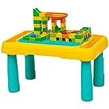 COSTWAY 5 in 1 Kinder Spieltisch, Bausteintisch & Zeichentisch & Wassertisch & Sanditisch & Kugelbahn mit Bausteinset und Stift, Kindertisch mit doppelseitiger Tischplatte, für Kinder ab 3 Jahren