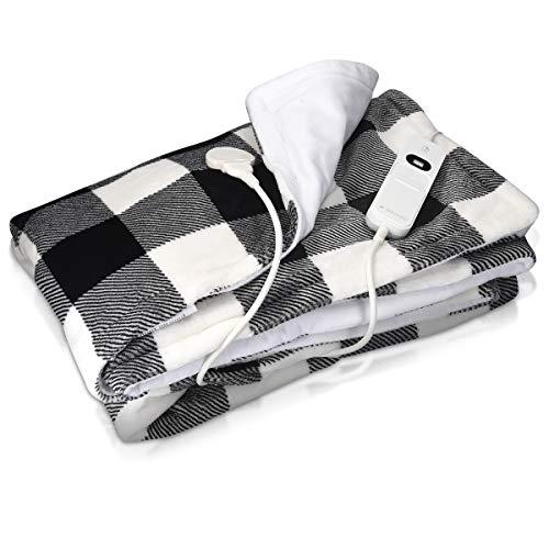 Navaris XXL Elektrische Wärme Heizdecke - 180x130cm 3 Wärmestufen Abschaltautomatik waschbar - Kuschelige Bett Wärmedecke Schwarz-Weiß