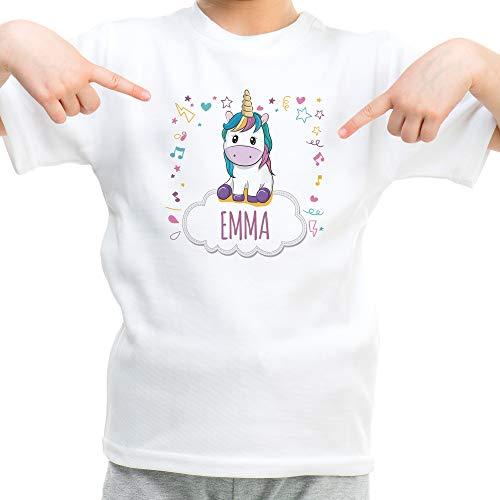 LolaPix Camiseta Unicornio Infantil Personalizada con Nombre/Texto. Regalos Infantiles Personalizados. Varios Diseños a Elegir. Tacto Algodón. Unicornio