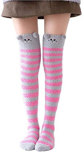 Girl s Leg Warmers Soft Warm Animal Coral Fleece Thigh High Long Striped Socks Best Christmas product image