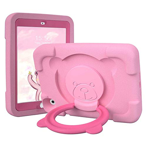 PZOZ Case for Apple iPad Mini 4/5 7.9 Inch Shockproof EVA Rotating Handle Folding Stand Heavy Duty Protective Case for 4th Generation 5th Generation pink