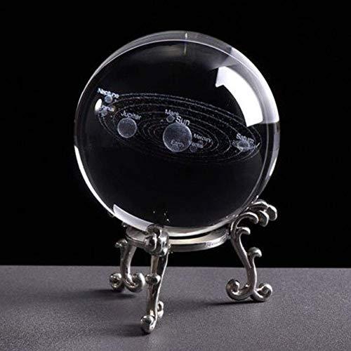 TXYFYP Kristallglas Ball 3D Sonnensystem Kristallkugel mit Ständer Transparent Planet Educational Ball Cosmic Modell Gravur Glas Kugel Büro Kreativ Geschenk - Silber Metall Basis, Free Size