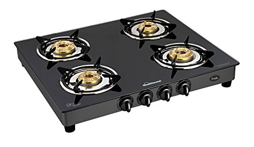 Sunflame GT Pride 4 Burner Glass Top Gas Stove, Black (2 Year...