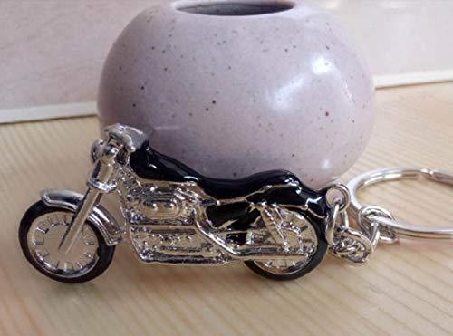 Motorrad Chopper Schlüsselanhänger silberfarben/schwarz Metall Moped | Chopper | Geschenk | Harley |