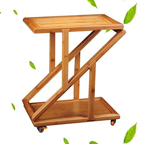 Tables basses Armoire à thé Armoire à thé Portable en Bambou Chariot à thé à roulettes Casier à thé en Bambou (Color : Brown, Size : 46 * 29 * 53cm)