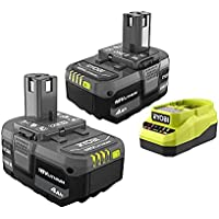 2-Pack Ryobi ONE+ 18V Lithium-Ion 4.0 Ah Battery and Charger Kit