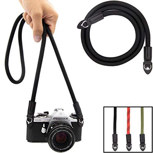 Lens-Aid Kameragurt aus Seil: Nacken- BZW. Schultergurt geeignet für Kameras von Canon, Nikon, Sony, Fujifilm, Olympus, Leica etc.