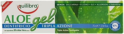Equilibra Cuidado Bucal, Gel Dentífrico de Triple Acción de Aloe Vera, Acción Calmante y Antiséptica, Protege Contra las Caries, el Sarro y las Enfermedades de las Encías, 75 ml