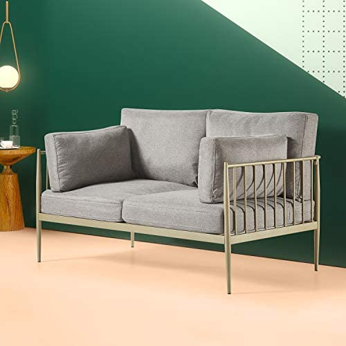 Best Zinus – Janelle - Steel Framed Loveseat with Upholstered Grey Cushions