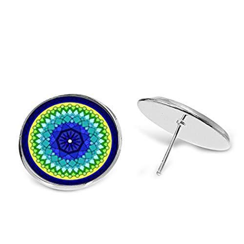 Elf House pendientes de caleidoscopio azul, verde y amarillo, pendientes de mandala azul verde, pendientes de perno de caleidoscopio, pendientes de mandala