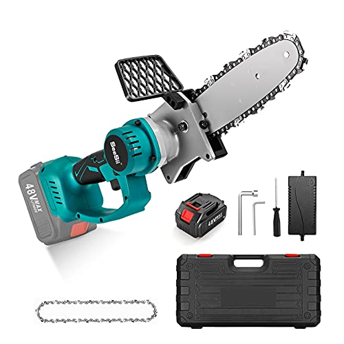 Seesii Mini Brushless Chainsaw, 8 Inch Cordless Electric hand chainsaw Pruning Shears for Home Garden Wood Cutting with Carrying Box, Spare Chains