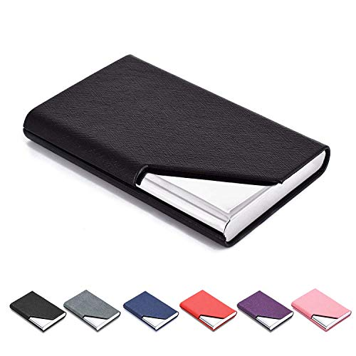 MaxGear Business Card Holder Leather Business Card Case Name Card Holder Business Card Wallet Business Card Carrier Slim Metal Pocket Card Holder - Black