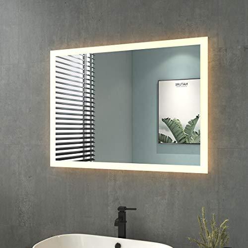 Badspiegel mit Beleuchtung 80x60cm Badezimmerspiegel mit Beleuchtung LED Badspiegel Warmweissen Lichtspiegel Wandspiegel IP44 Energiesparend