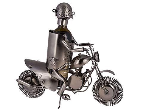 Ideal Trend Metall Flaschenhalter Motorradfahrer II Weinflaschenhalter Figur Sekthalter