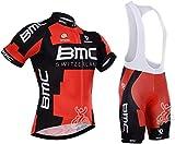 URPRU Herren Pro Rennen Team BMC MTB Radbekleidung Radtrikot Kurzarm und Tr?gerhose Anzug Bib Shorts Suit-B_4X-Large