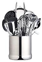 masterclass porta utensili da cucina in acciaio inox formato extra-grande, 18 x 18 cm
