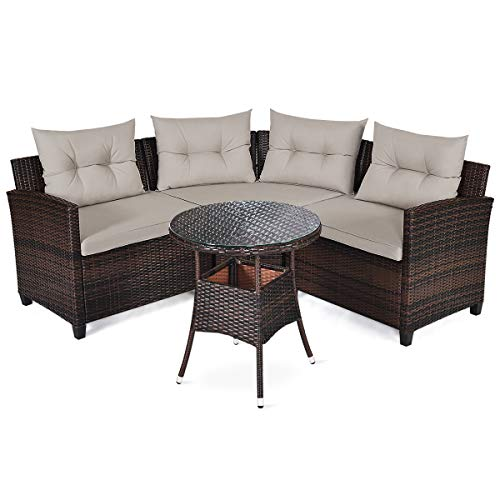 HAPPYGRILL 4PCS Outdoor Patio Furniture Set Wicker Sectional Sofa L-Shape w/Round Tempered Glass Top Table & Cushions Modern Conversation Set Curved Sofa Set for Garden Poolside Balcony