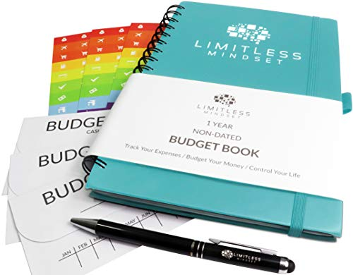 Budget Planner (Non-Dated), Finance Journal, Expense Tracker, and Bill Organizer - Monthly Budget Book Bundled with Cash Envelopes, Stickers, and a Pen (Turquoise, 1 Year)