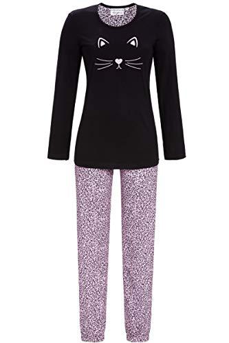 Ringella Lingerie Damen Pyjama mit Stickereimotiv schwarz 44 0561220, schwarz, 44