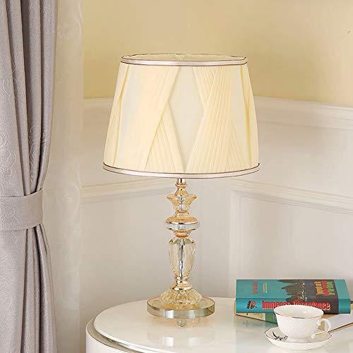 FHUA Lámpara Escritorio Lámpara Cristal pequeña lámpara de Noche lámpara de Cama Dormitorio Sala de Estar decoración de la Tela lámpara de Mesa