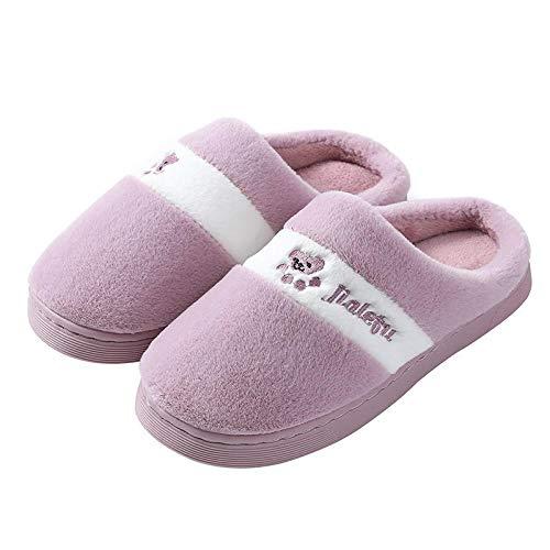 ypyrhh Pantuflas cálidas de algodón para invierno, con suela gruesa, zapatillas de terciopelo con tacón A, morado_40-41, zapatillas con forro polar de felpa antideslizante para interior