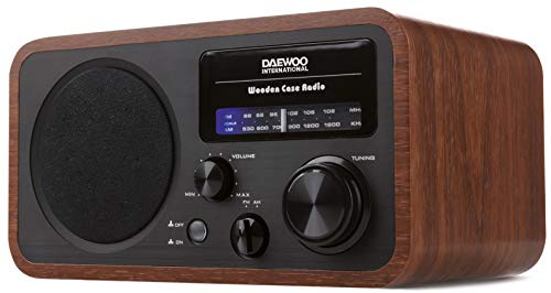 DRP-134 Radio analógica Am FM, Fácil sintonización con botón Giratorio, Caja acústica de Madera, Altavoz Integrado, alimentación AC 230V