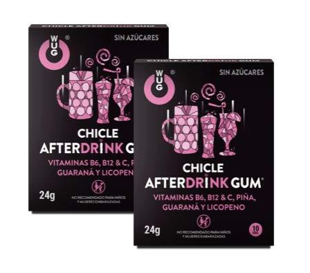 WUG CHICLE AFTERDRINK GUM - Complemento Alimenticio Antirresaca, Sabor Frutos Rojos, Pack 2 cajas (2 x 10 uds)