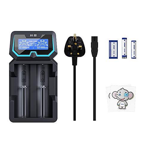 Protected 21700 Cargador de batería XTAR New X2 Cargador de 4 bahías 18650 con doble entrada innovadora pantalla LCD para baterías de iones de litio de 3,6 V/3,7 V 14500-26650 de 1,2 V Ni-MH y Ni-CD