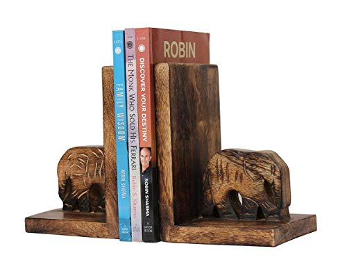 storeindya Thanksgiving Gifts Wooden Elephant Handcarved BookEnds Bookshelf Home Office Library (Design 4)